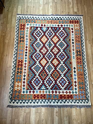 Alfombra oriental afgana, hecha a mano, de lana, colores naturales, estilo afgano, nómada turco, persa, tradicional, 150 x 189 cm, estilo vintage, pasillo y escalera, reversible