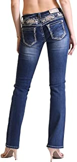 Grace in LA Paisley Yoke Easy Fit Floral Embellished Dark Wash Boot Cut Jeans w/Size 32 33 34