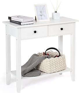 Meerveil - Table Console - Meuble de Console en Bois avec 2 Tiroirs et 1 Etagère Surface Peinte Style Simple pour Entrée S...