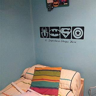 Guduis Wall Sticker Family DIY Decor Art Stickers Home Decor Wall Art A Super Hero Sleeps Here Wall Sticker Spiderman & Batman& Captain America Boys Bedroom Decor