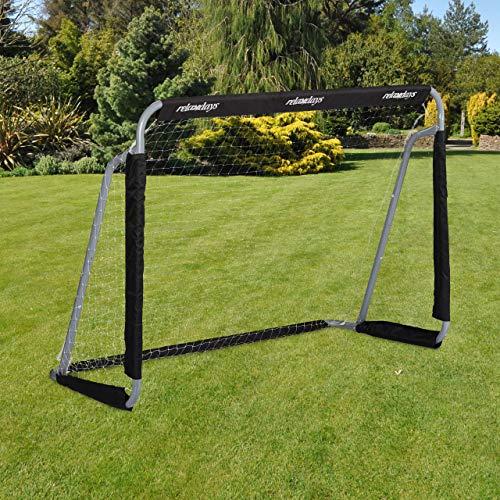 Relaxdays Fußballtor, Profi Soccertor für Kinder & Erwachsene, mit Tornetz, für Garten, HBT 110x150x75cm, grau/schwarz