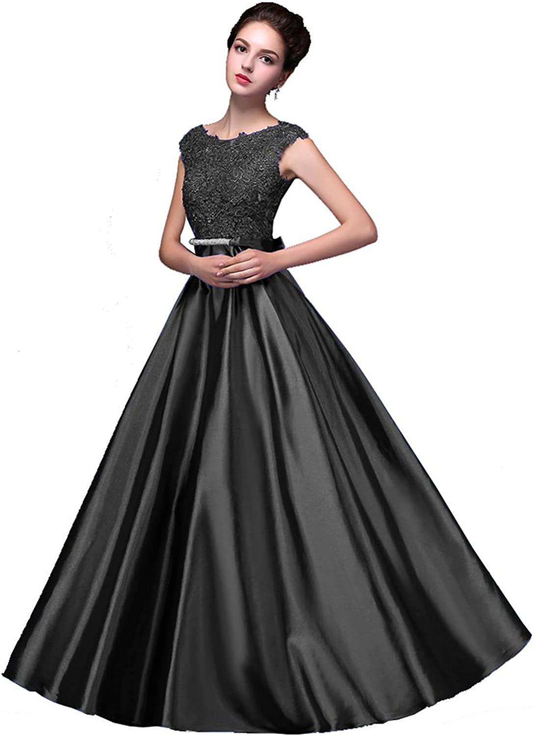 BeautyEmily Womens Long Formal Evening Dresses Appliques Prom Party Cocktail Wedding Guest Gowns Black US18 Plus Size