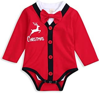 Toddler Baby Boys Christmas Outfit Baby Kids My First Christmas Romper Gentleman Bowtie Bodysuit 2Pcs Clothing Set