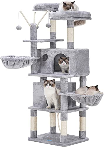 2021 Hey-brother outlet sale Cat Tree,Cat Tower,Cat Condo with Scratching Posts,Basket,2 Caves,2 outlet sale Plush Perches,Activity Center with Removable Fur Ball Sticks online