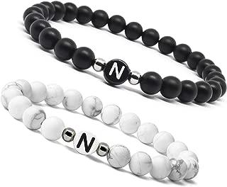 Adramata 2 Pcs Initial Beads Bracelets Men Women Couple Customized Bracelet Set Boyfriends Girlfriends Gifts
