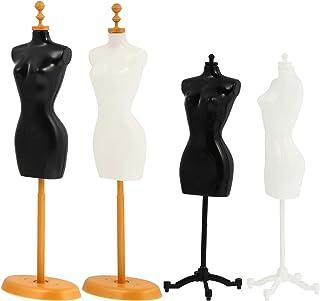 EXCEART Torse de Mannequin Féminin Corps de Mannequin de Forme de Robe 4 Pièces avec Support de Base pour La Couture des C...