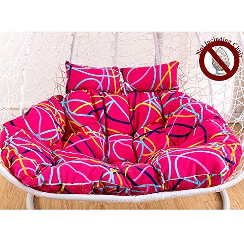 Large Swing Hanging Basket Seat Cushion,Double Swing Seat Cushion Cotton Linen Fabric Soft and Comfortable,Hanging Chair Cushion with Ergonomics Pillow,Mamasan/Papasan Overstuffed Chair Cushion A++