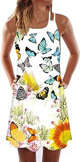 Tianjinrouyi Dress Women's 3D Mini Tank Dress Shirt Dress Beach Party Sundress