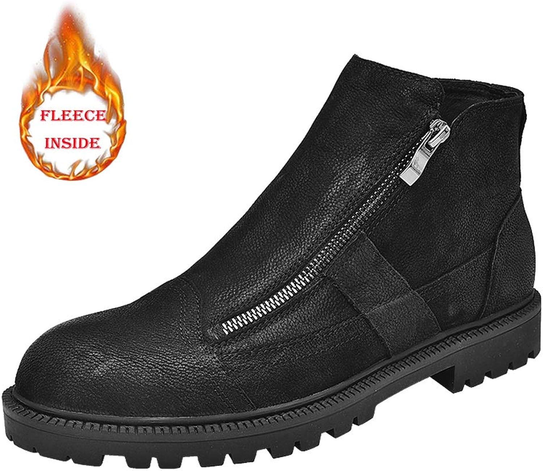 Mans Ankle stövlar, Mode Casual Classic Comfortable Zipper Båda Side Side Side High Top Fleece Lined skor (konventionellt valfritt)  100% autentisk