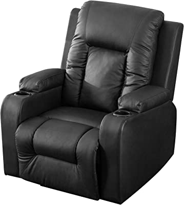 Harper&Bright Designs Power Lift Chair Recliner with PU Leather Heavy Duty Reclining Mechanism (Black)