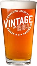 Vintage 1969 Pint Glass 50th Birthday Gifts for Women and Men   50 Year Old Funny Gift Ideas   Party Decorations for Him, Her, Husband, Wife, Mom, Dad, Grandma, Grandpa, Boss, Aunt & Uncle