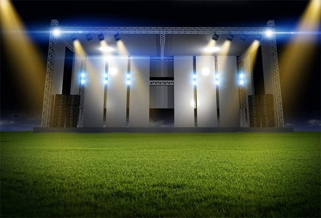 AOFOTO 5x3ft Stadium Backdrop Grassland Stage Lights Curtain Photography Background School Athletic Contests Award Party Term Begins School Opens Ceremony Studio Prop Video Drapes