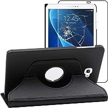 ebestStar - Coque Compatible avec Samsung Galaxy Tab A6 A 10.1 (2018, 2016) T580 T585 Housse Protection Etui PU Cuir Support Rotatif 360, Noir +Verre Trempé [Appareil: 254.2 x 155.3 x 8.2mm, 10.1'']