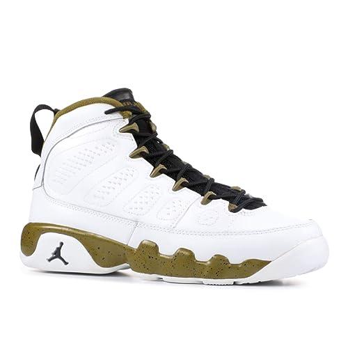 bdf0ab9548ee20 Jordan Big Kids Air 9 Retro BG (White Black Militia Green)
