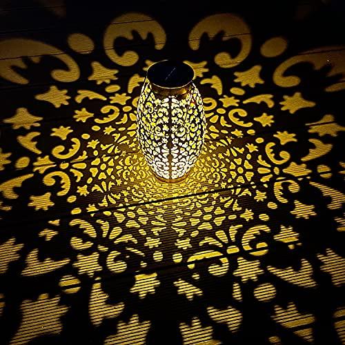 Lanterna solare per esterni - MUSUNIA luce solare da giardino, IP44, impermeabile, 25 x 13 cm, 1 confezione, luce bianca calda, decorazione per giardini e terrazze