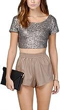 Women's Glitter Sequins Backless Crop Tops Candy Colors Short Sleeve T-Shirt