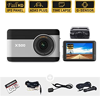 """FineVu X500 Dash Cam, Front and Rear Full HD 1080P, 3.5"""" Touch Screen IPS, Hardwiring Cable, Samsung 64GB MicroSD Included, Night Vision ADAS Plus Time Lapse G-Sensor"""