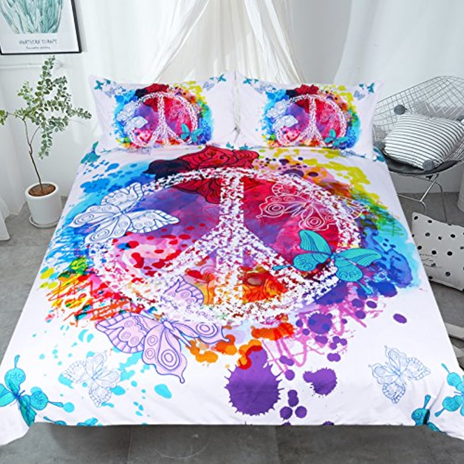 Sleepwish Hippie Psychedelic Butterfly Duvet Cover Peace Sign Bedding Boys Girls Watercolor Modern colorful Art Bedspread (King)