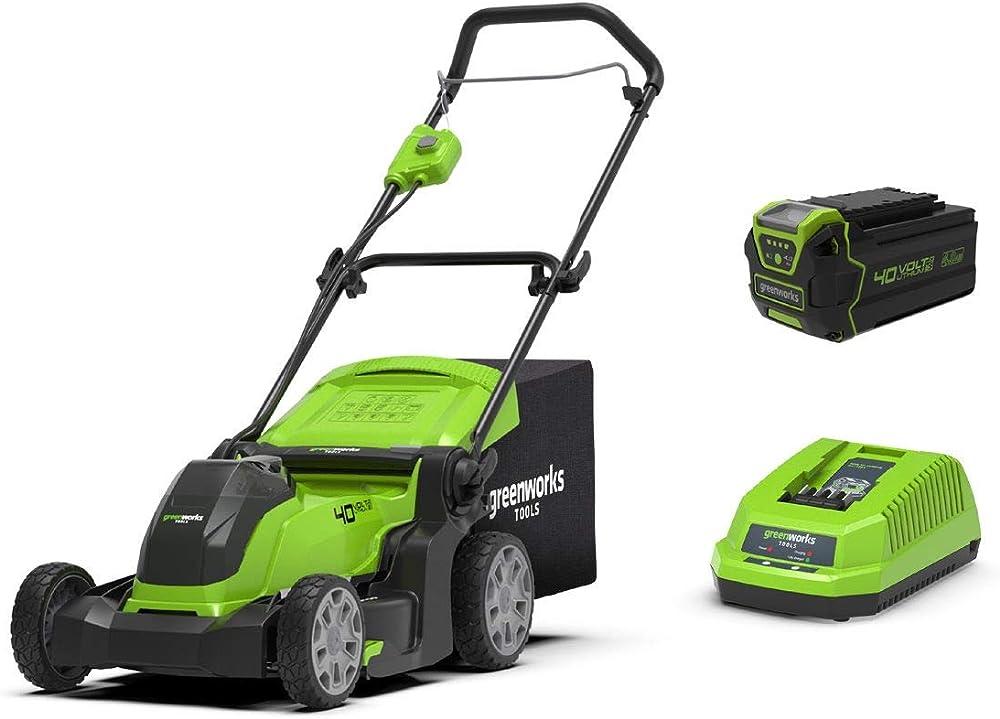 Greenworks 2504707UB Cortacésped 41cm de Ancho con batería de 4Ah y Cargador incluídos, 144 W, 40 V