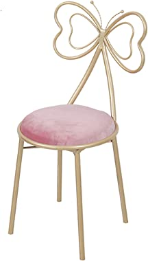DBGA Bow Shaped Vanity Chair, Bedroom Princess Chair, Iron Make Up Leisure Chair with 4 Metal Stool Legs, Girls Ladies Creati