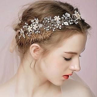 YERTTER Bridal Rhinestones Flower Silver Handmade Leaves Headbands for Wedding Party Crystal Floral Leaf Hair Vine Bridal ...