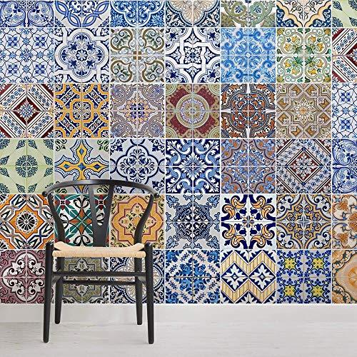 Tegels met patroon, vierkante wandschilderijen voor slaapkamer, behang, decoratie, Fresko Decor 350 × 245 cm.