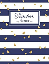 Teacher Planner: Vertical Academic Year Lesson Plan Calendar 8 Period Full Year Navy Stripes Gold Hearts (Lesson Plan Books For Teachers 2019-2020)
