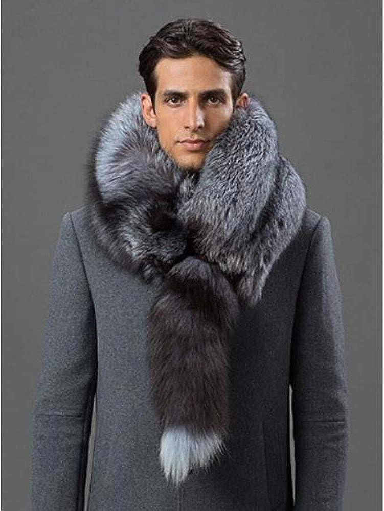 Real Fur Scarf Navy Fox Fur Collar with Polyester Scarf Tie Real Fur Collar