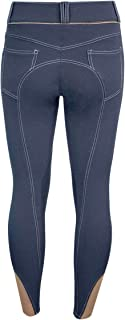 ELATION EuroSeat Breeches, Platinum Brooklyn Riding Breeches for Women, Thick Elastic High Waist w/Contrast Piping & Leather Knee Patch – Ladies Equestrian Riding Pants & Horse Show Breech
