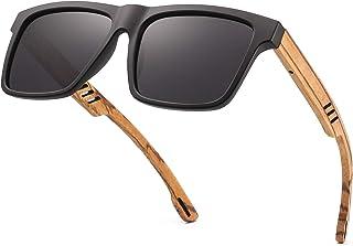 Divvsck Zebra Wooden Sunglasses For Men Polarized Lenses in Bamboo Tube Packaging Mirror UV 400 Lens Protection