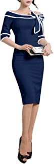 Women's 1950s Slim Half Sleeve Wear to Work Casual Office Pencil Dress 172