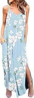 Women's Spaghetti Strap Dress - Bohemia Floral Print Maxi Dresses Side Split Casual Loose Midi Dress with Pocket