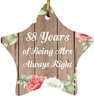88th Anniversary 88 Years of Being Mrs Always Right - Star Wood Ornament B Christmas Tree Hanging Decor - for Wife Husband...