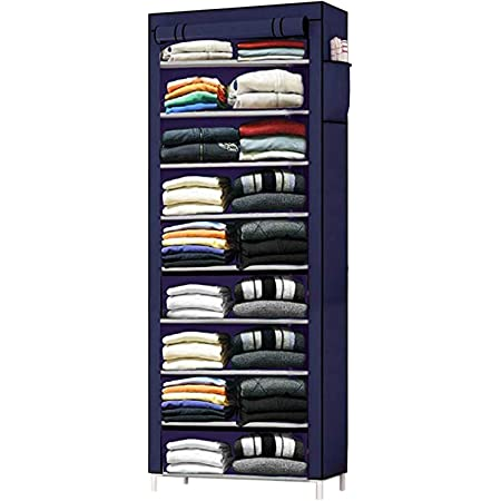 Zemic Multipurpose 9 Shelve Baby Wardrobe, Foldable, Collapsible Fabric Wardrobe Organizer for Clothes (Iron and Non Woven Fabric - Navyblue)