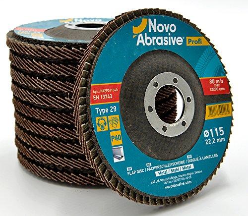 Novoabraive Premium Flap Disc 115 mm korrel 40 (verpakking met 10 stuks) slijpschijven voor haakse slijper. Ideaal voor roestvrij staal, gietijzer, hout, kunststoffen, ijzeren metalen – universeel.