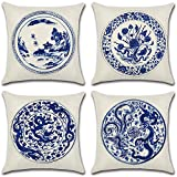 Homyall Blue and White Porcelain Pillow Covers Square Decorative Cushion Covers Cotton Linen Throw Pillow Covers Set of 4 Cushion Covers 18x18 inch, 4 Packs (Blue and White Porcelain)