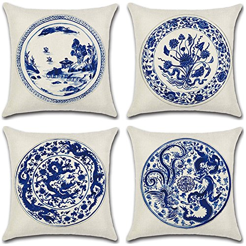 Homyall Blue and White Porcelain Cushion Covers Square Decorative Pillow Covers Cotton Linen Throw Pillow Covers Set of 4 Cushion Covers 18x18 inch, 4 Packs (Blue and White Porcelain)