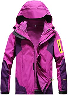 FYXKGLa Ladies Jackets Detachable Outdoor Cold Climbing Clothing Two-Piece Windproof Jacket (Color : Purple, Size : XL)