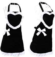 Hyzrz Royal Cooking Aprons for Women Vintage Girls Maid Black Apron Heart Shape Patterns