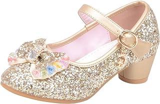 7ea38589 Mitlfuny Zapatos de Tango Latino para Niños Vestir Fiesta Arco Princesa  Sandalias Perla Rhinestone Lentejuelas Zapatitos
