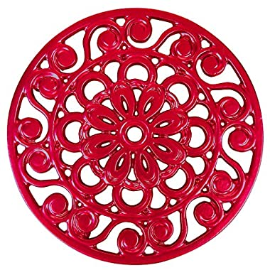 Trademark Innovations Decorative Cast Iron Metal Trivet (Red)
