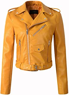 Women Faux Leather Jackets Lady Bomber Motorcycle Cool Outerwear Coat with Belt,Yellow,XL
