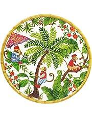 Les Jardins de la Comtesse - Plato de Servicio Redondo - Melamina Pura - Contorno Bambú - Monos de Bali - 35,5 cm - Coral Rojo/Verde - Bandeja de Presentación - Colección Vajilla Irrompible MelARTmine