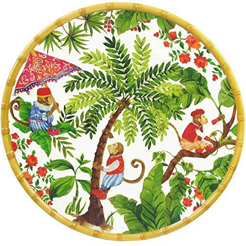 Les Jardins de la Comtesse - Plat Rond en Mélamine - Contour Bambou - Singes de Bali - 35,5 cm - Rouge corail et Vert - Plat de Présentation de la Collection de Vaisselle Quasi-Incassable MelARTmine
