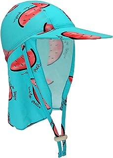 Kebs Basic Kids Swim Flap Hat UPF50+ Beach Legionnaire Hat for Children Flap Sun Protection Swim Hat with Chin Strap