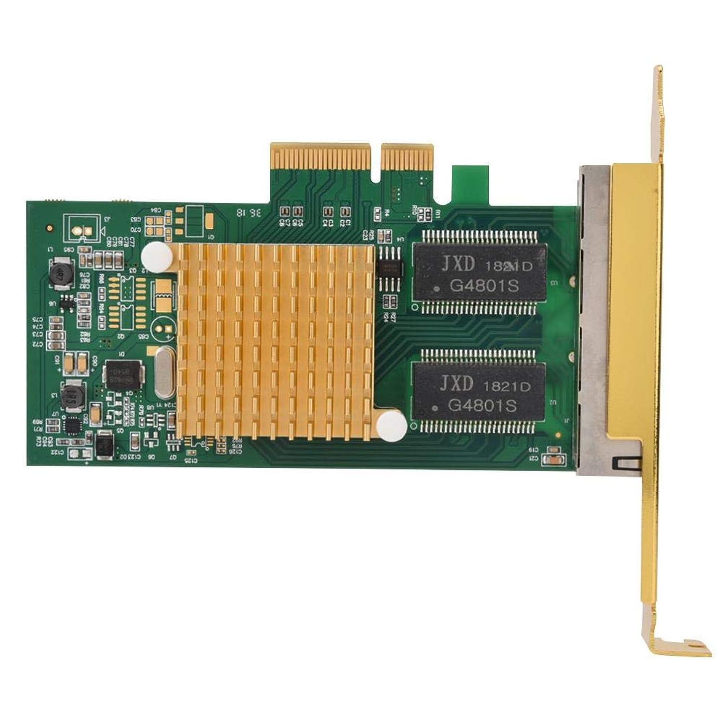 普通のくつろぎプラグRicher-R PCI-Eサーバーイーサネットネットワークカード ネットワークアダプタ 10/100/1000 Mbps 4ポートギガビットネットワークカード