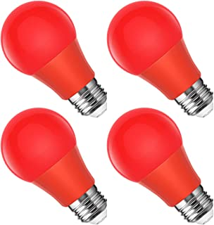 Smartinliving Red Light Bulb, 40W Equivalent Red LED Light Bulb, 500LM, A19 Red Night Light Bulb with E26 Medium Base, Halloween Color Bulb, Party Decoration, 4 Pack