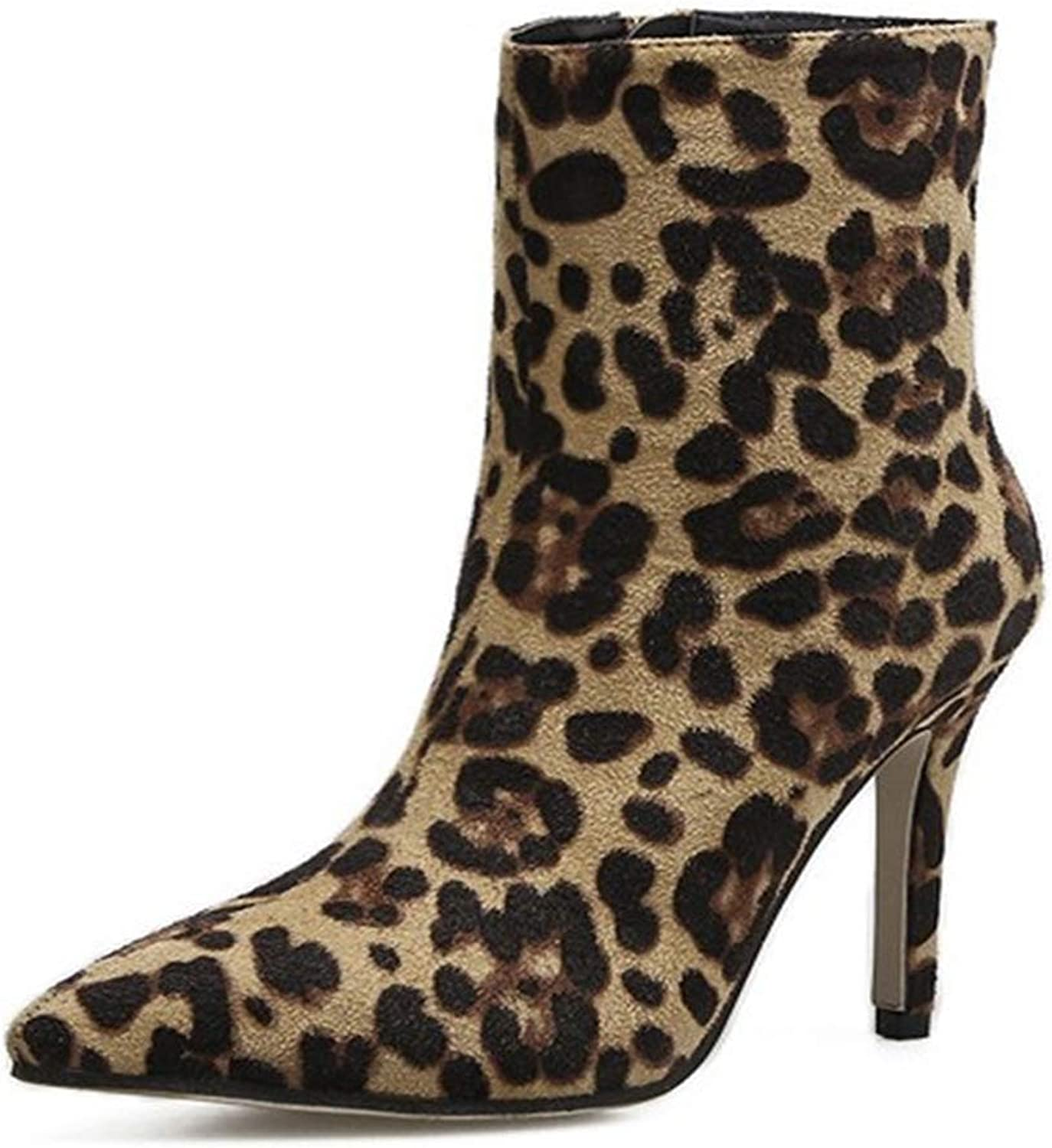 Winter Ladies Personality Leopard Booties Large Size PU Leather Warm Leather Lining