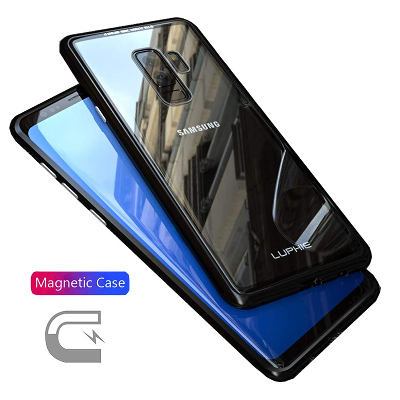 HIKERCLUB Galaxy S9 Plus Case Magnetic Adsorption 9H Tempered Glass Back + Metal Frame with Built-in Multiple Magnet Ultra Clear Slim Protective Cover for Galaxy S9 Plus (Black)