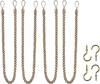 Home Queen Rope Tie Backs for Window Curtain with 4 Hooks, Hand Knitting Buckle Cord Drapery Holdbacks, 4 Pieces, Taupe